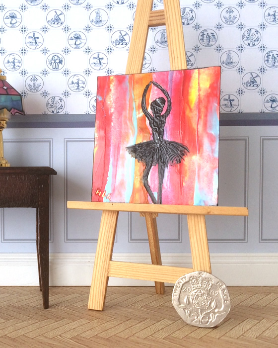 fire ballerina miniature dollhouse painting