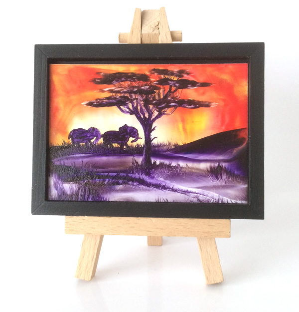 miniature sunset dollhouse art by hazel rayfield