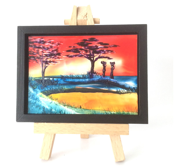 framed sunset dollhouse painting