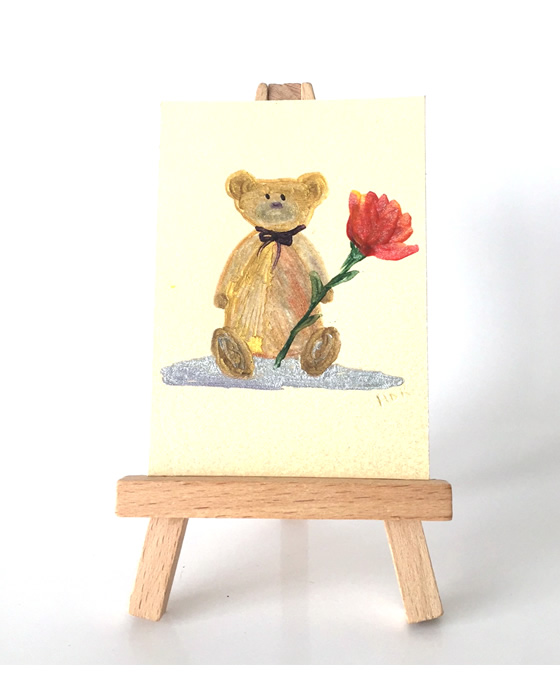 miniature flower teddy painting