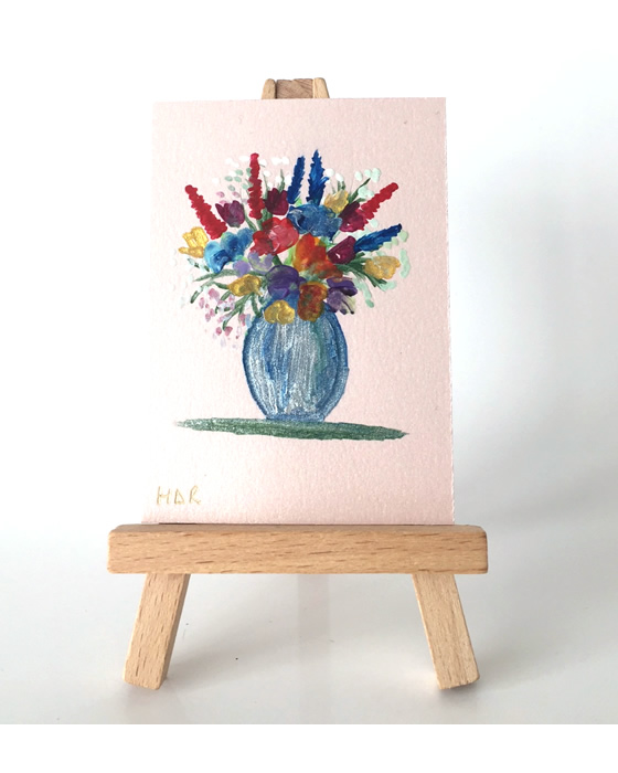 Original miniature art collectible ACEO flower Vase