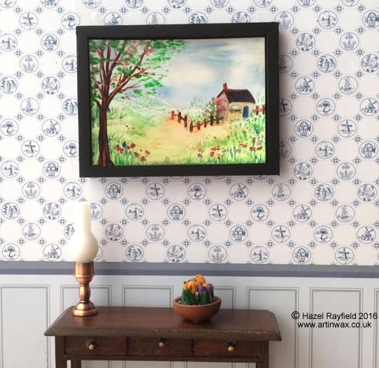 cottage landscape dollhouse painting