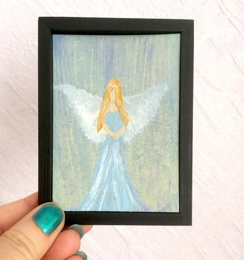Angel miniature dollhouse painting