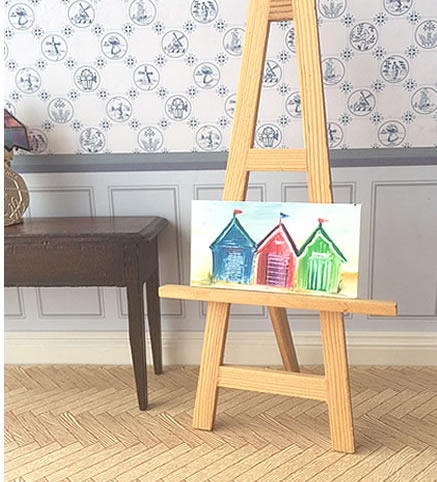 Beach huts miniature dollhouse painting