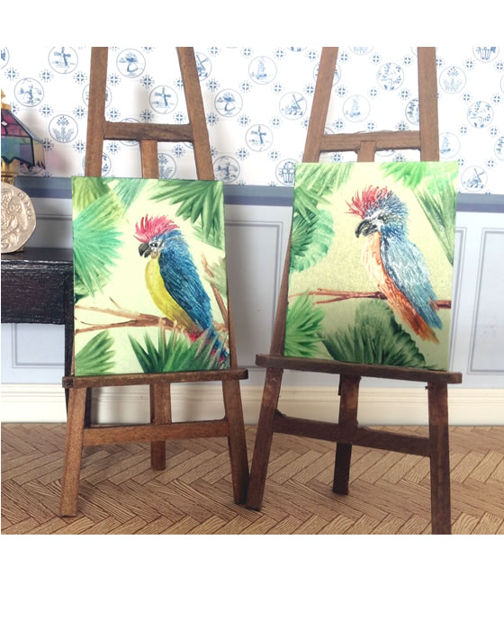 parrots dollhouse painting