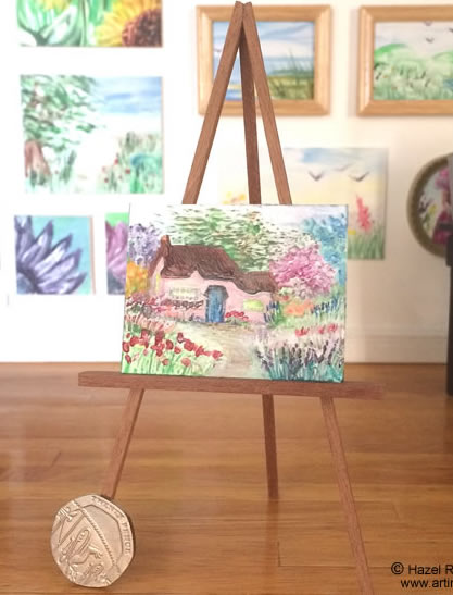 dollhouse cottage landscape painting