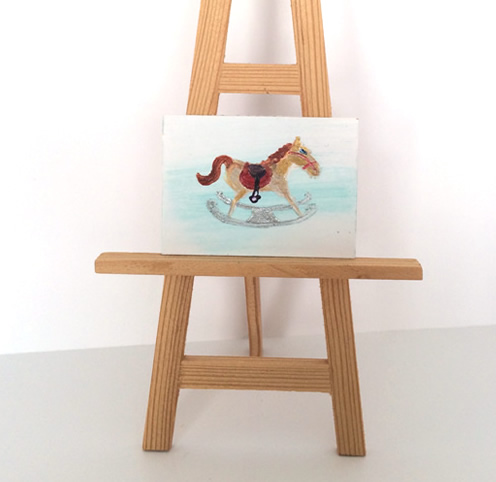 Miniature rocking horse painting