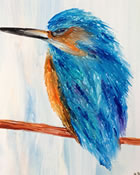 Kingfisher Encaustic Painting