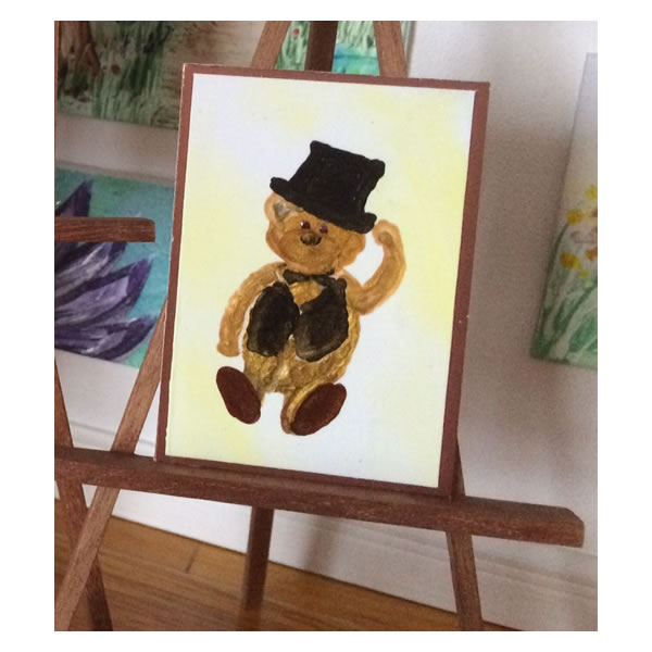Miniature top hat teddy bear painting