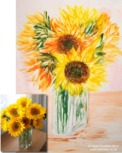 hot wax sunflowers