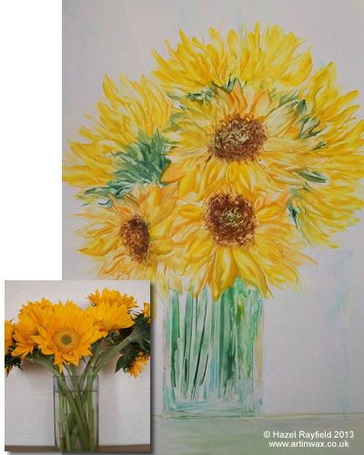 Vase of sunflowers