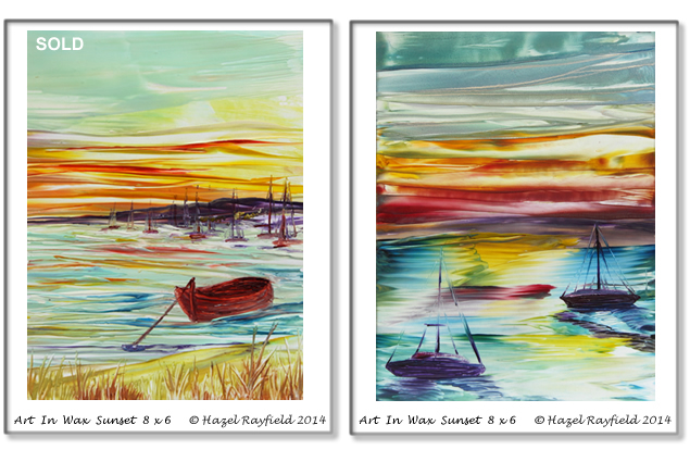 Sunset Painting Sailing boats and moored boat by shore