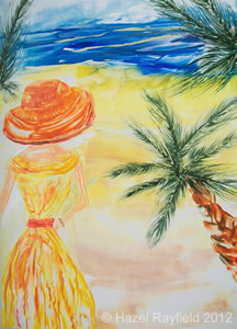Encaustic painting beach with lady