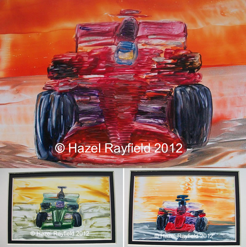formula one racing car paintings in wax