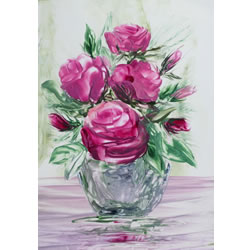 pink roses vase painting
