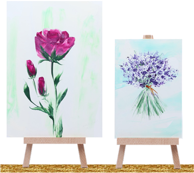 rose lavender paintings on display stands