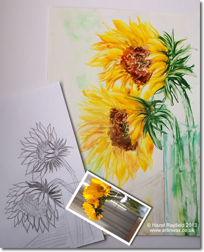 sunflower painting and drawing