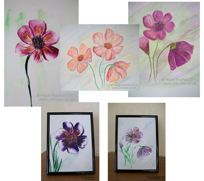 clematis paintings, in wax and watercolour 