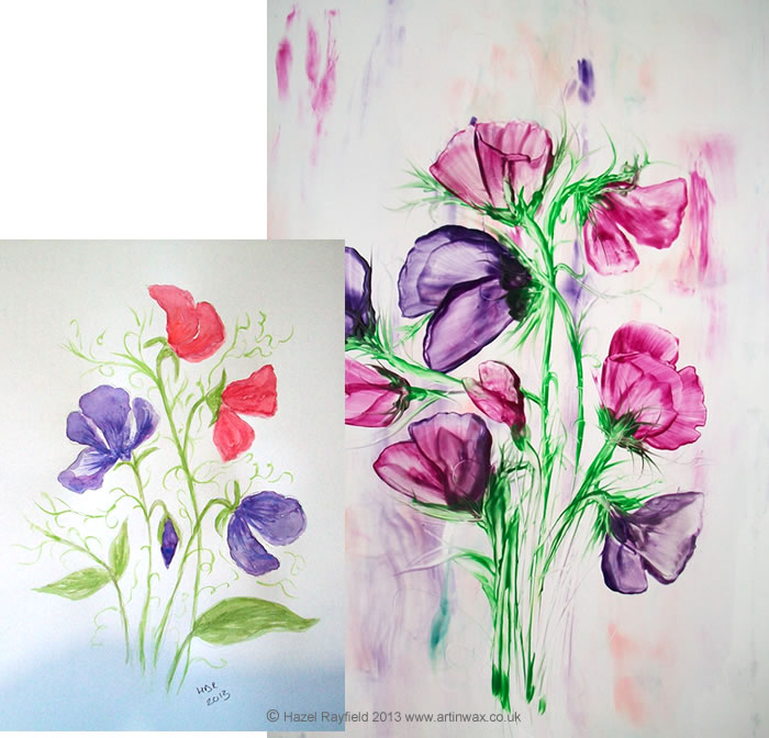Wax Sweet Peas and Watercolour