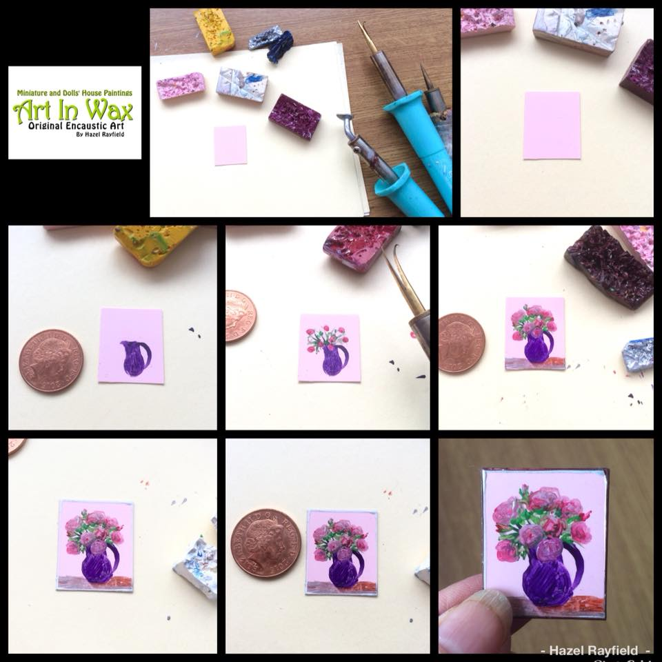 painitng a miniature 1;24 scale rose flower vase