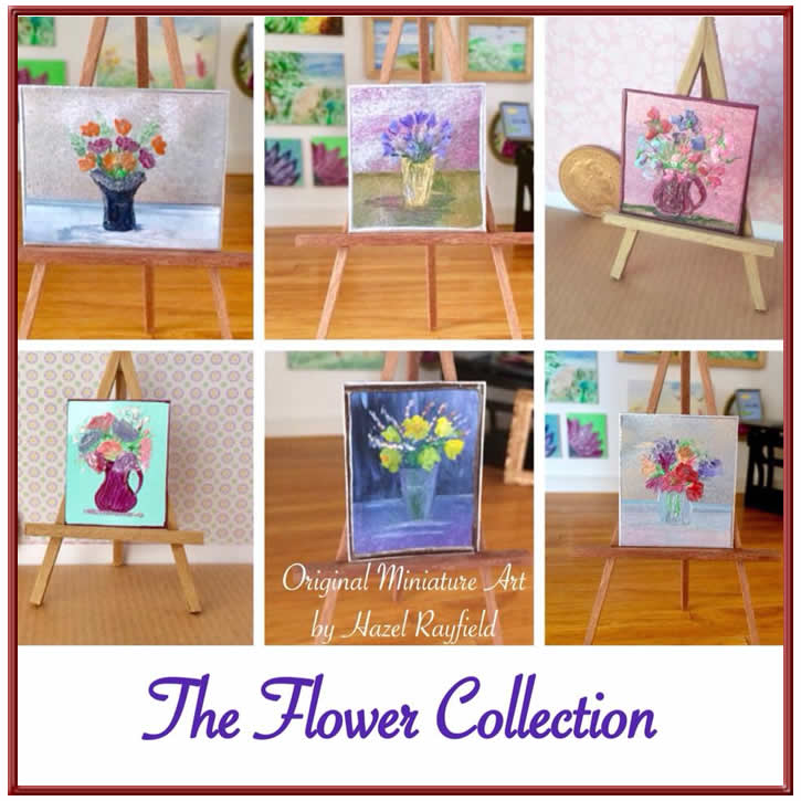 miniature dolls house flower paintings