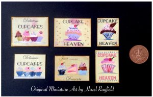 Collectible art for dollhouse cupcakes