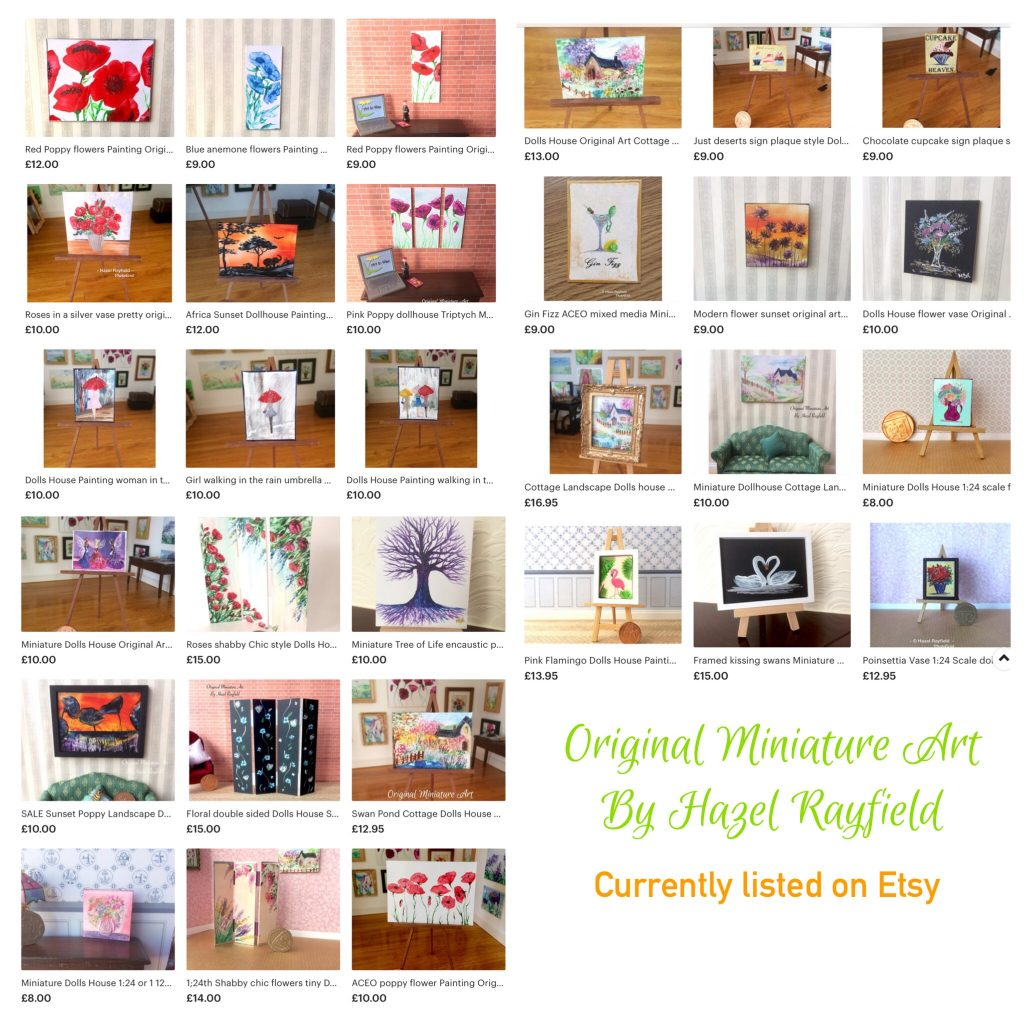Etsy miniature art for dolls houses