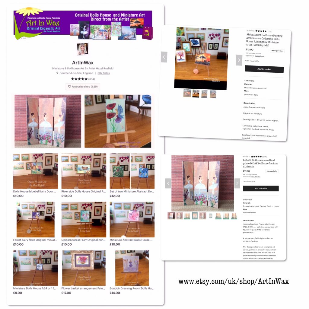 Screen shot Etsy store dollhouse