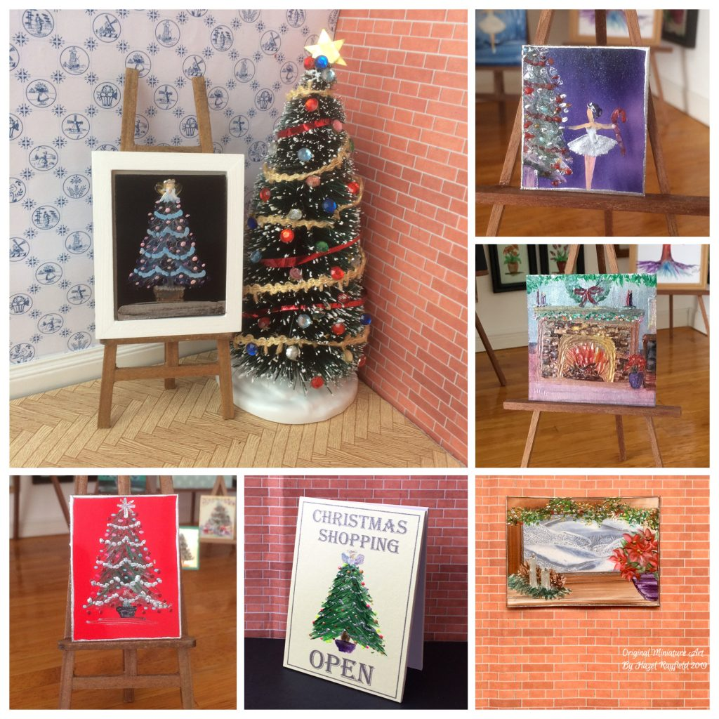 Christmas paintings for your dollhouse