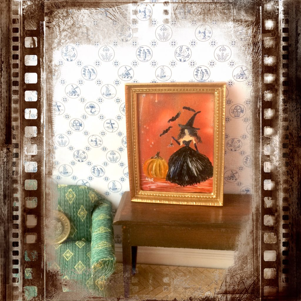 Glamorous Witch Halloween dollhouse painting