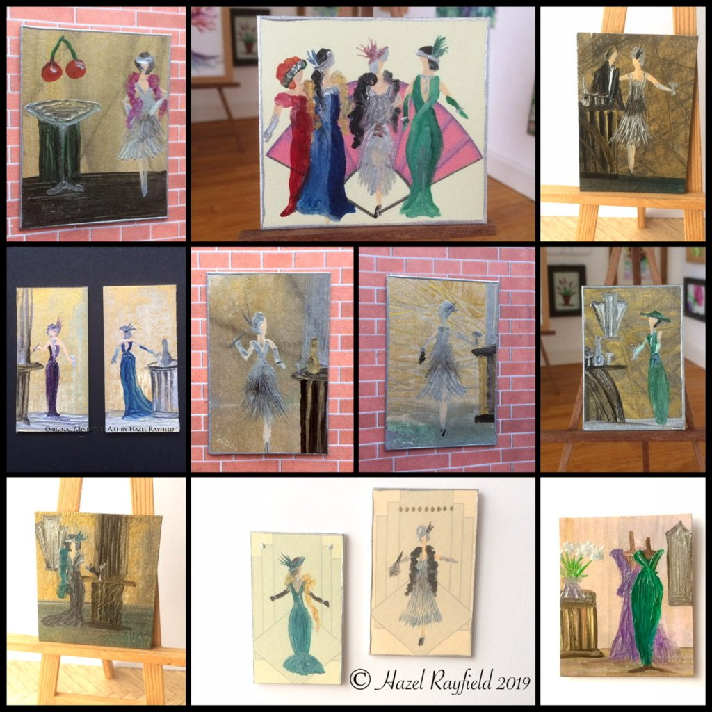 Art Deco themed lady miniature dollhouse pictures