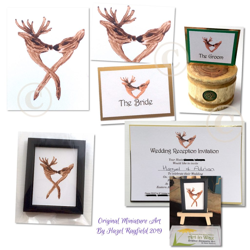 Stag and doe miniature painting wedding stationery