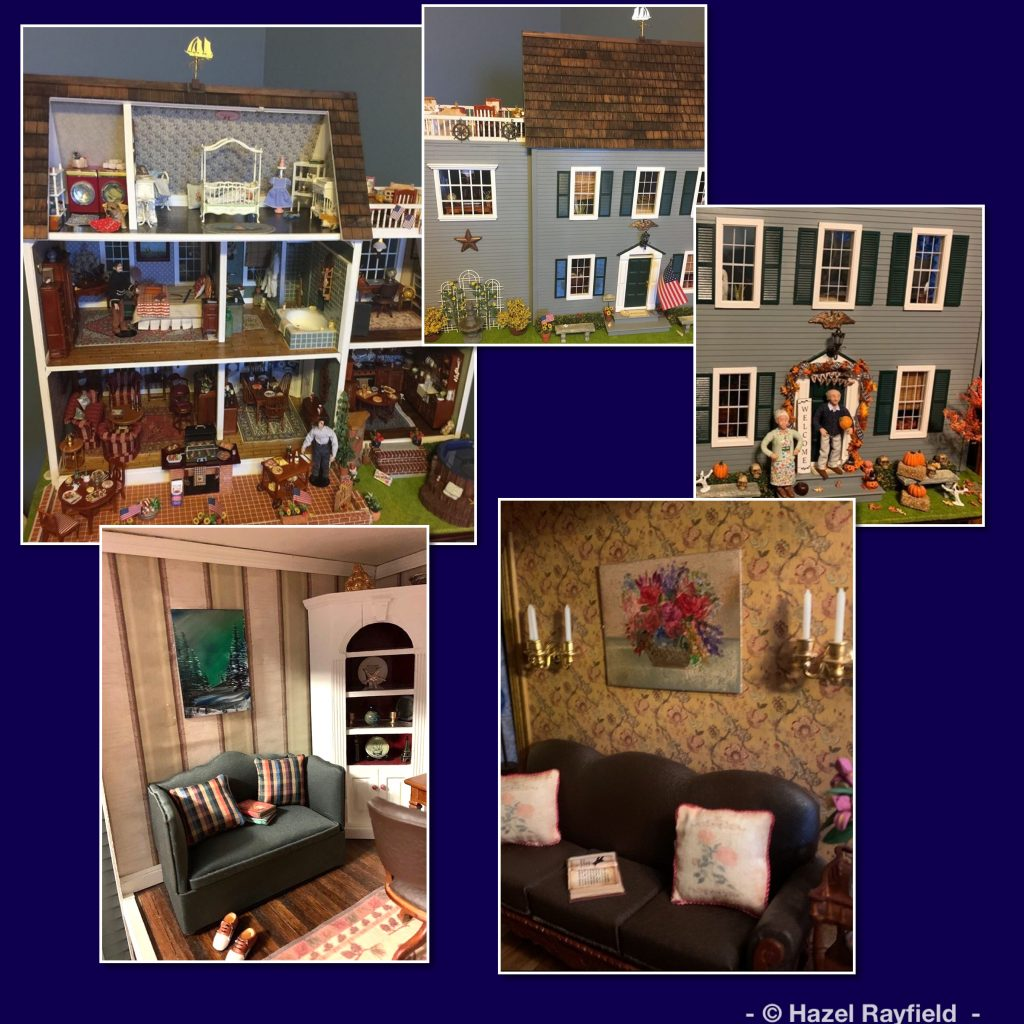 Modern dollhouse with art in wax on display