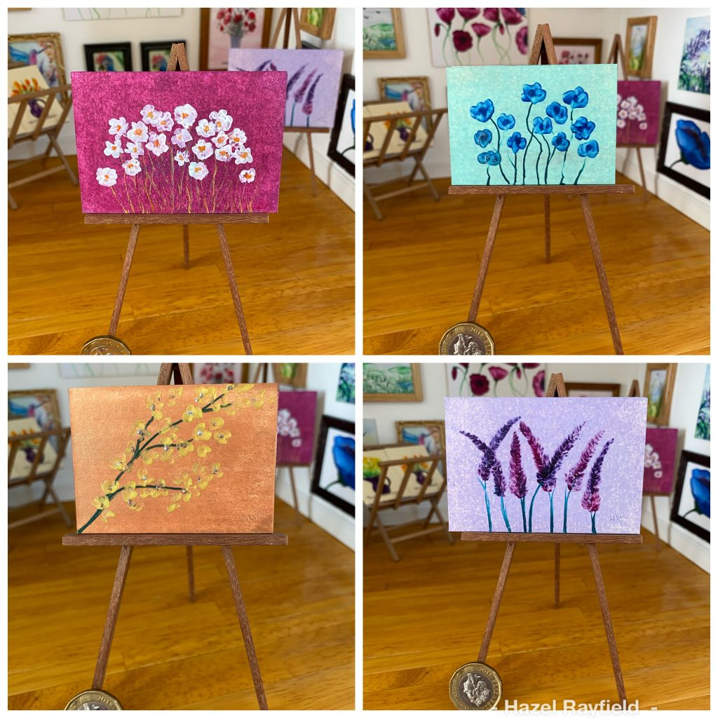 Daisy anemone lavender blossom paintings