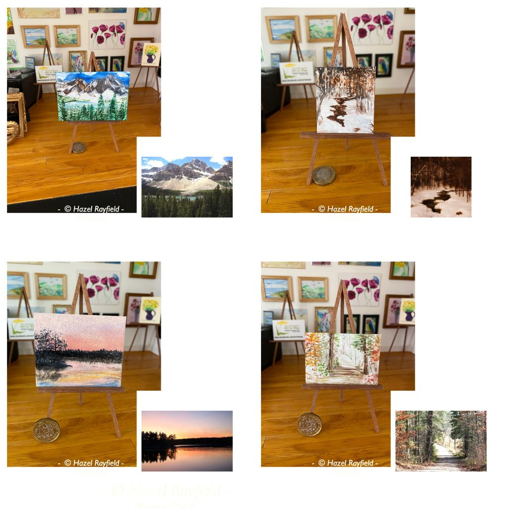 4 paintings with the photos taken from